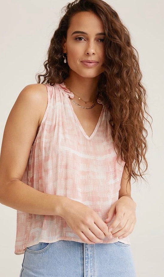 Ruffle Neck Tank In Coral