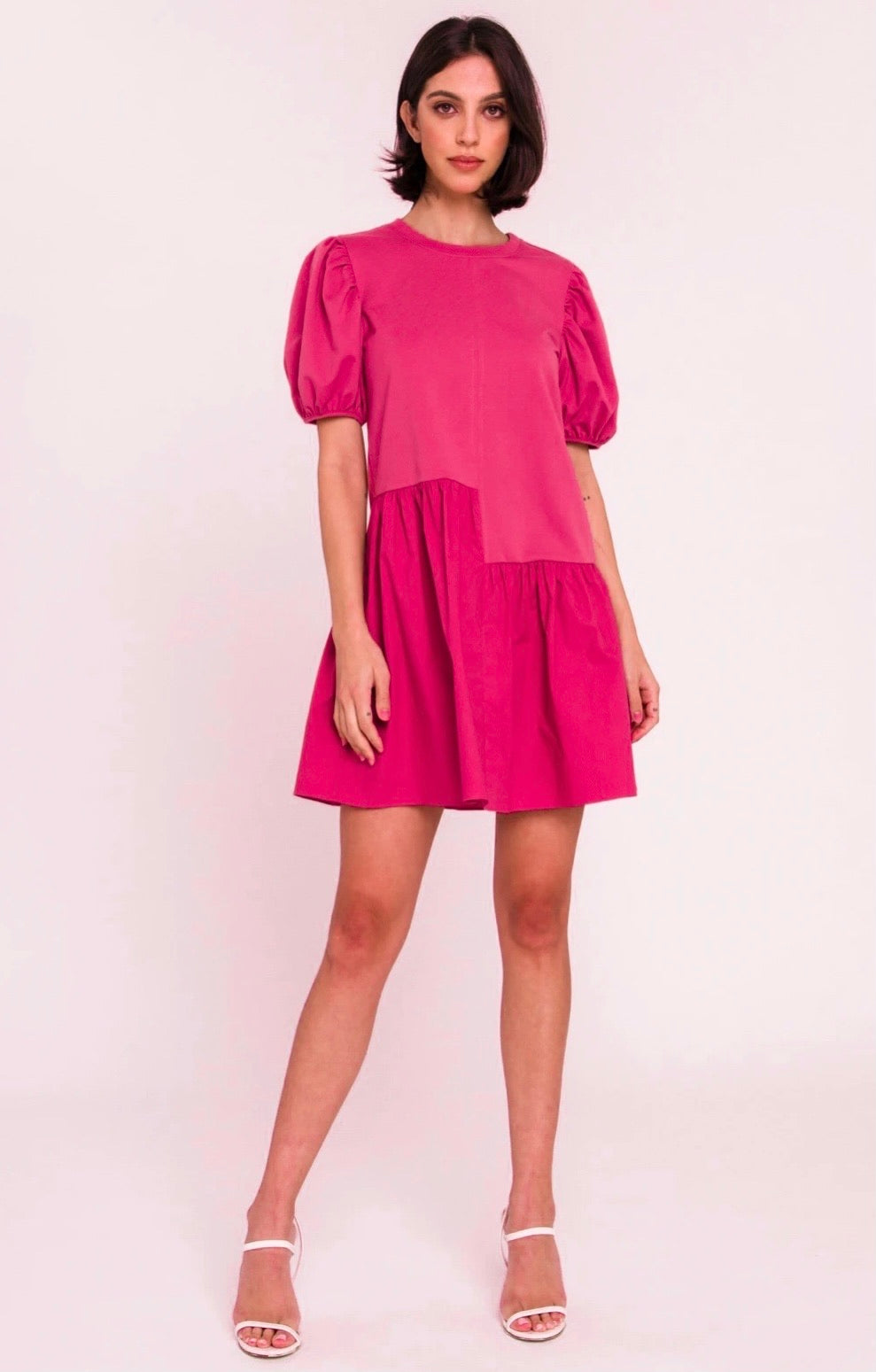 Knit Woven Mixed Dress - Fuschia