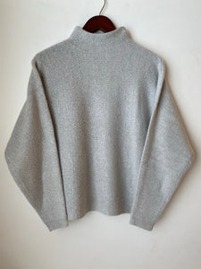 Ribbed Light Gray Mock Neck Sweater