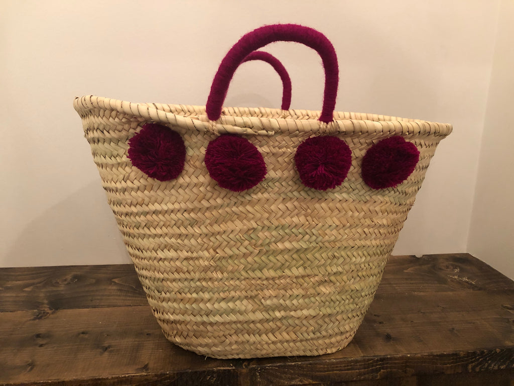 French basket - purple poms and handle