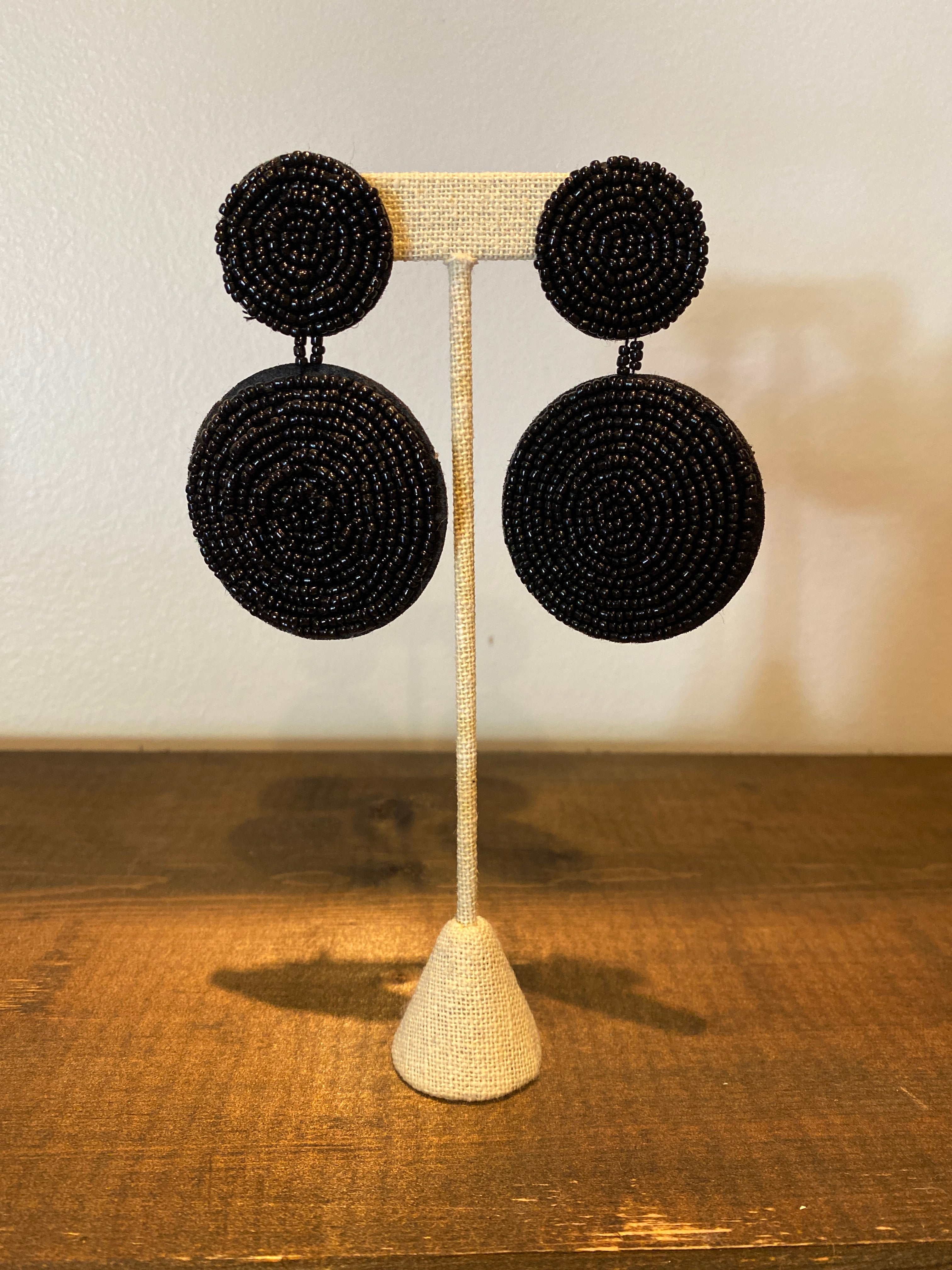 Beaded Circle Tiered Earrings