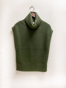 Olive Sleeveless Turtleneck Sweater