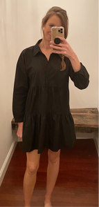 Black Poplin Tiered Button Down