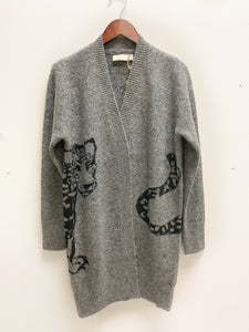 Wrap Leopard Cardigan in Gray