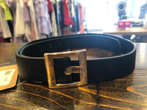 Faux black leather belt square buckle