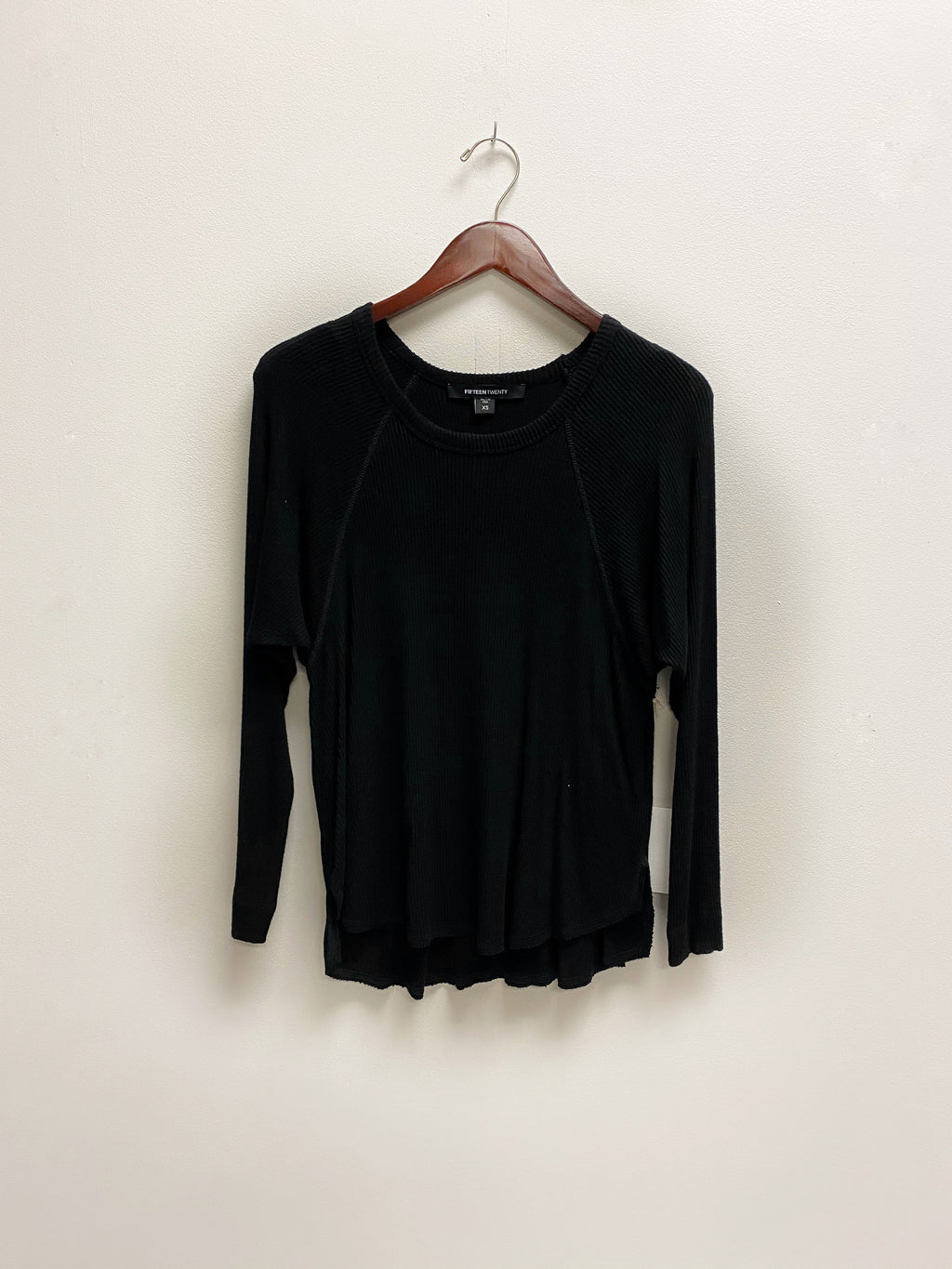 LS Raw Hem Top - Black