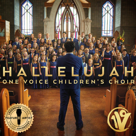 Cover image of Hallelujah album. Features the choir in dark blue dresses and suits with the director facing them as he raises his arms to conduct. The title is across the center in gold letters, the Legendary Vocals logo is in the lower left corner, and the OVCC logo in the lower left.