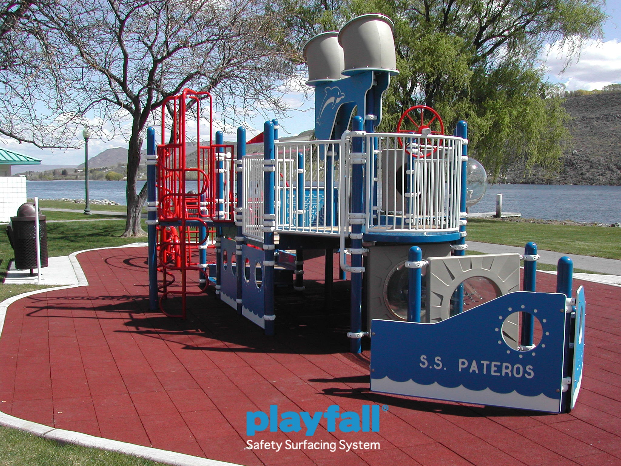 PlayFALL rubber tiles installed beneath a jungle gym for added safety protection.
