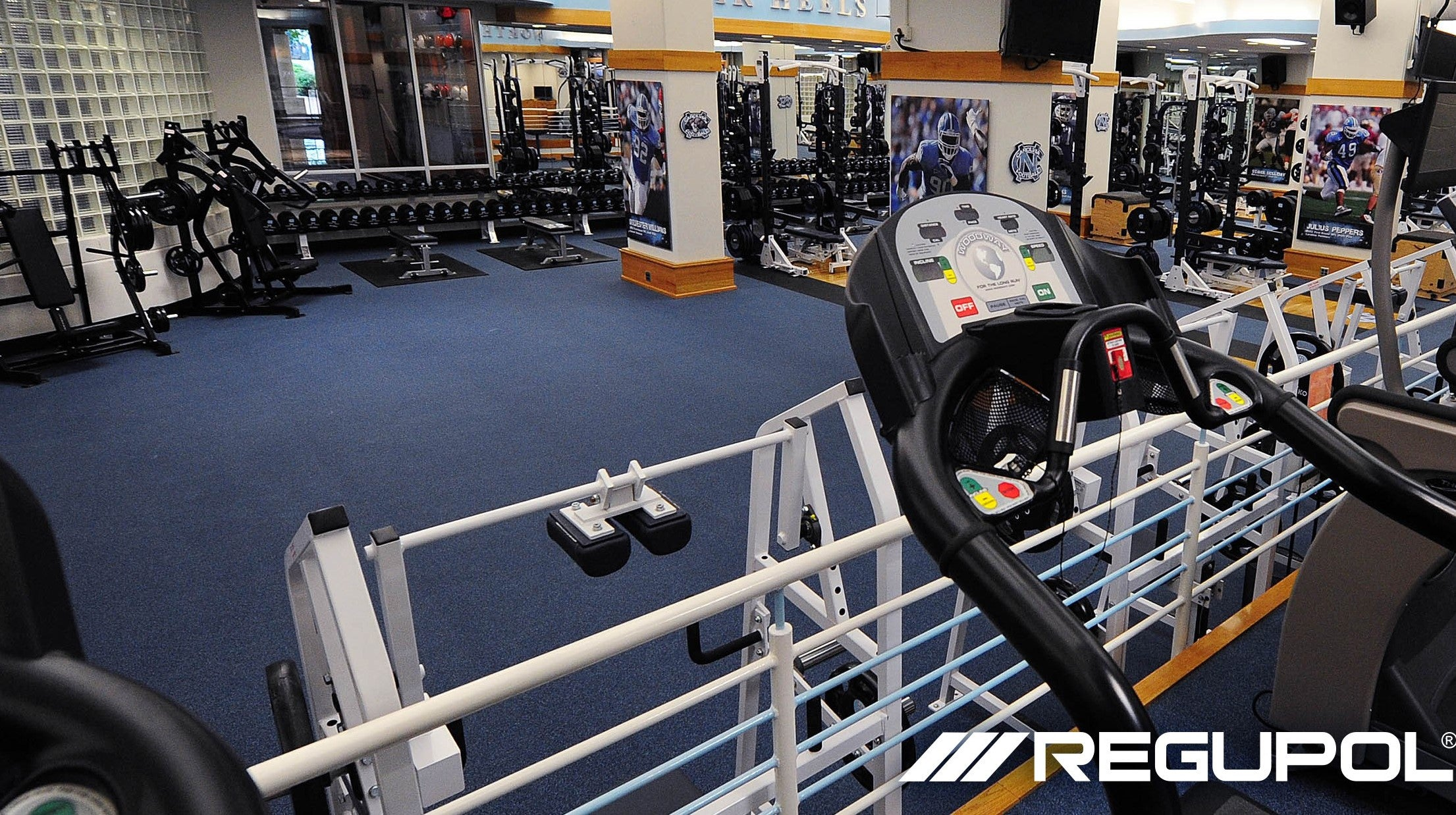AktivPro Roll installed in a weight room at the University of North Carolina.