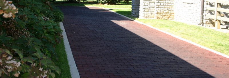 rubber pavers leading to barn