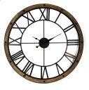 Metal wall clock with wood frame