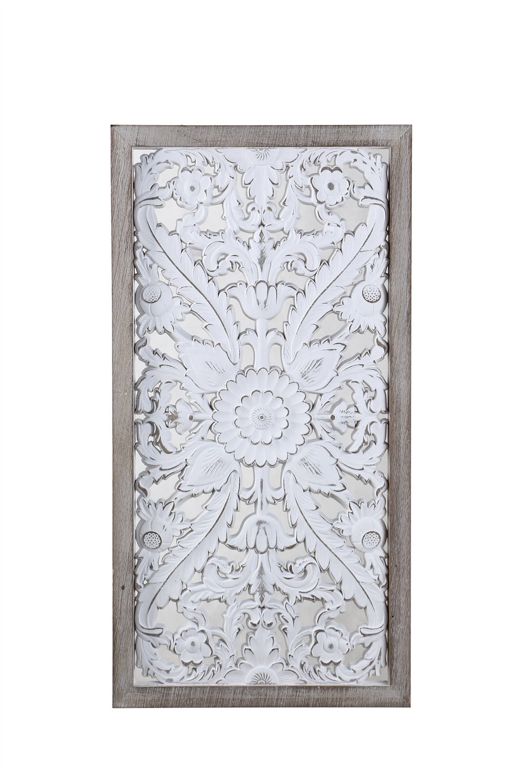 Rectangular distressed white washed wall art