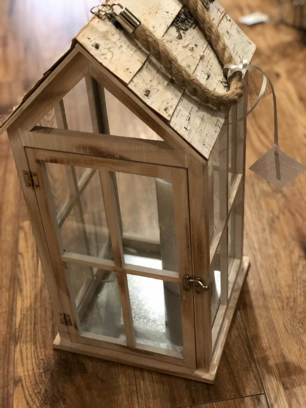 Lantern Whitewashed Wood with Bark Roof