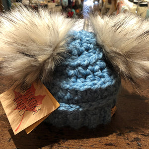 Muskoka Roots Double Pompom Toque for Baby in Blue