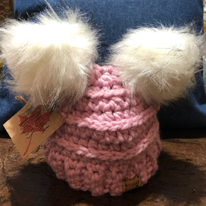 Muskoka Roots Double Pompom Toque for Baby in Pink