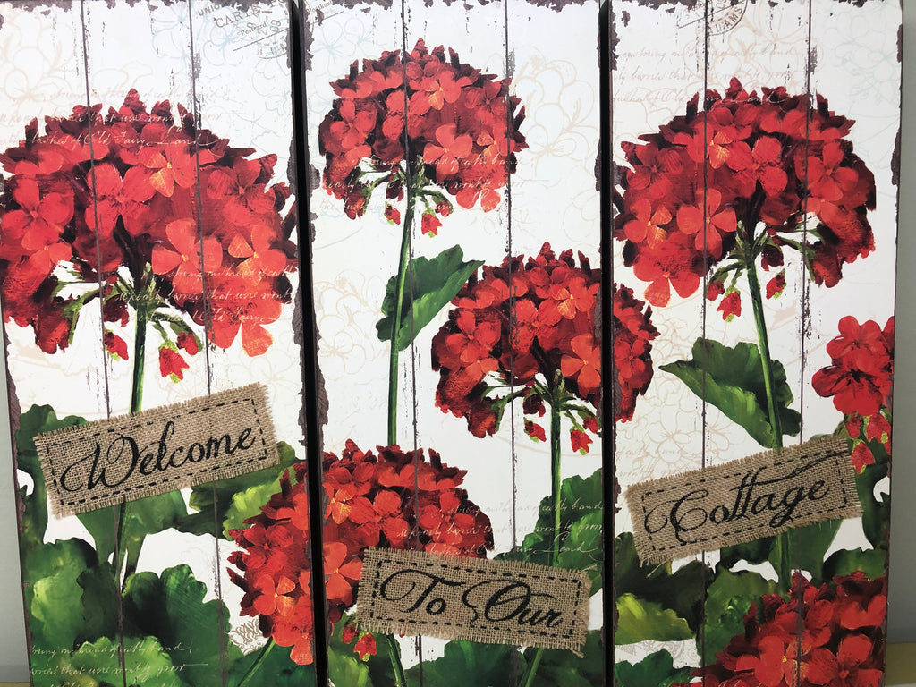 Canvas Set of 3 Geranium Prints