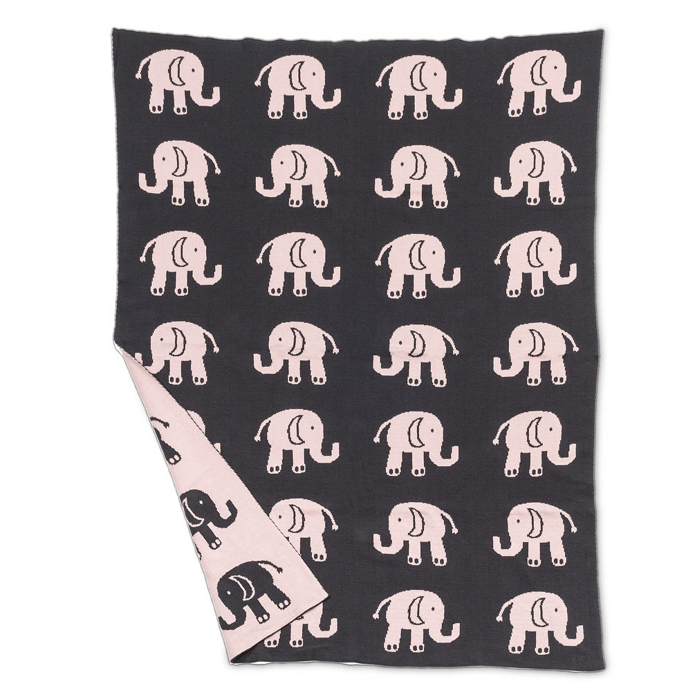 Pink Elephant Baby Throw