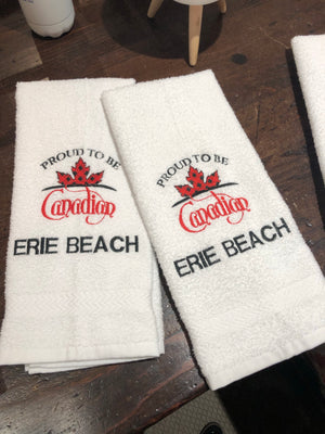 Erie Beach Hand Towel Proud to be Canadian