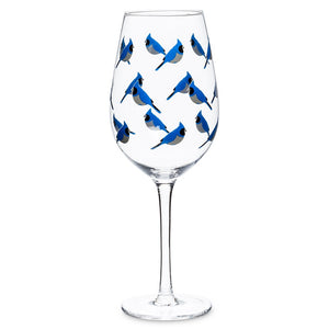 Stemmed Wine Glass with Blue Jays