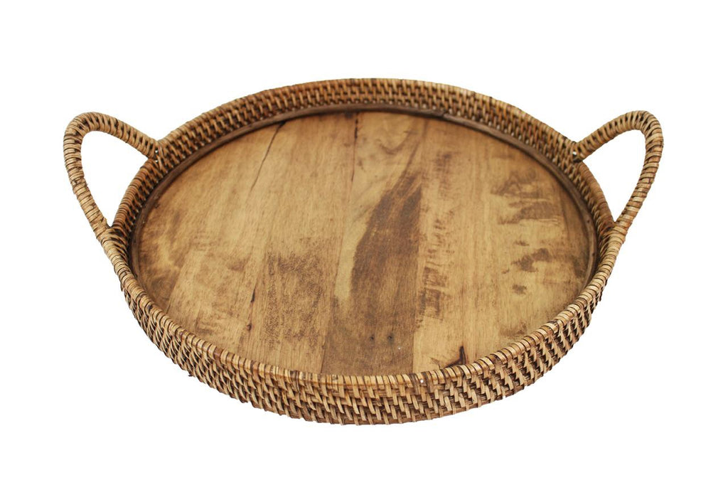 Rattan and Wood Tray