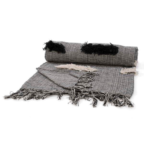 Black and Beige Throw with fringe