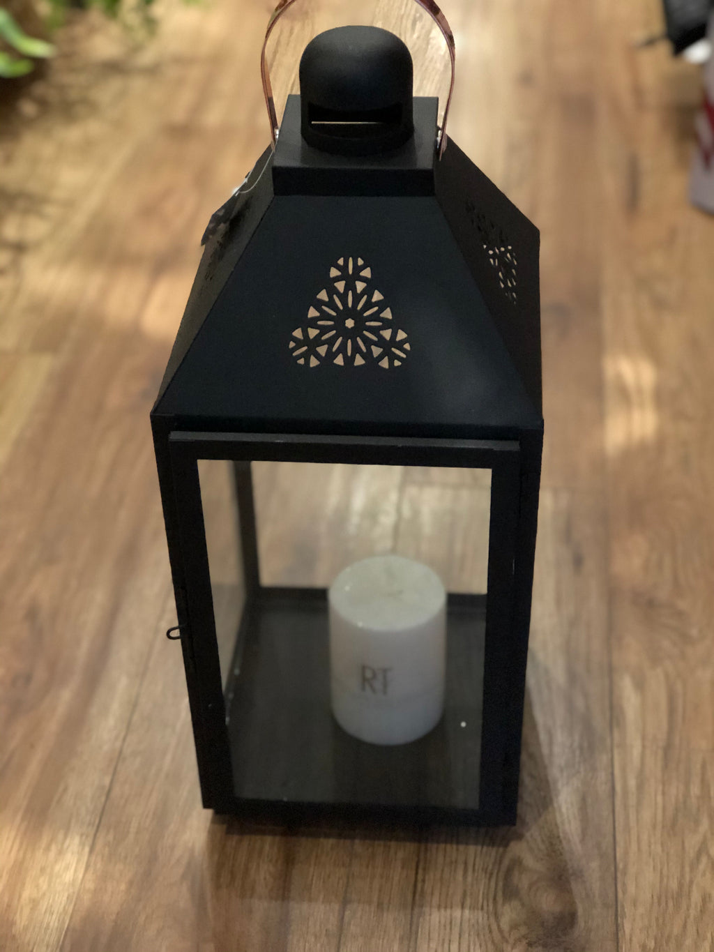 Metal Black Lantern with Copper Handle