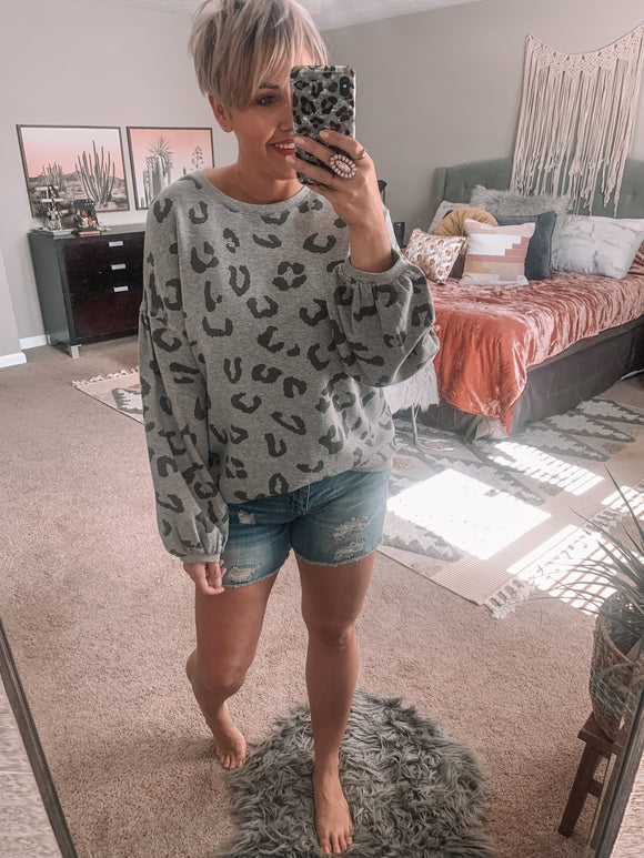Gray Leopard Top