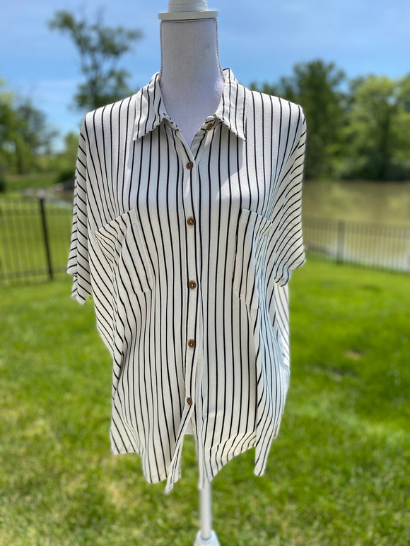 *B&W Striped Shirt - M/L*