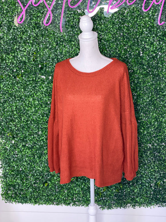 * CHERISH Rust Bubble Sleeve Top- L*
