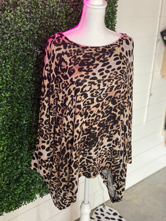 *Leopard Tunic Top- S*