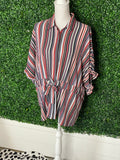 *WISHLIST APPAREL Stripped Button Top-M/L*