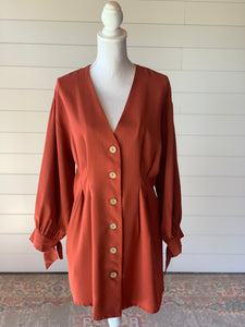 *Rust Button Dress/Tunic - M*