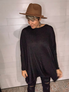 *Long Sleeve Tunic in Black- XL*