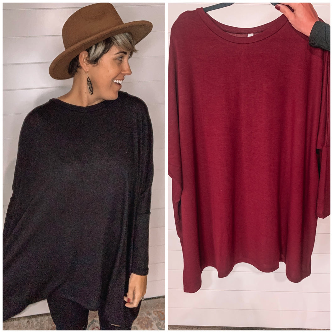 Long Sleeve Tunic in Wine or Black