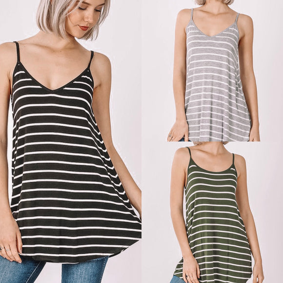 Striped Reversible Tunic Tank