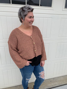 V-Neck Mocha & Rust Popcorn Sweater