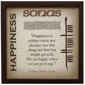 Happiness Sonas William Butler Yeats Ogham Framed Print