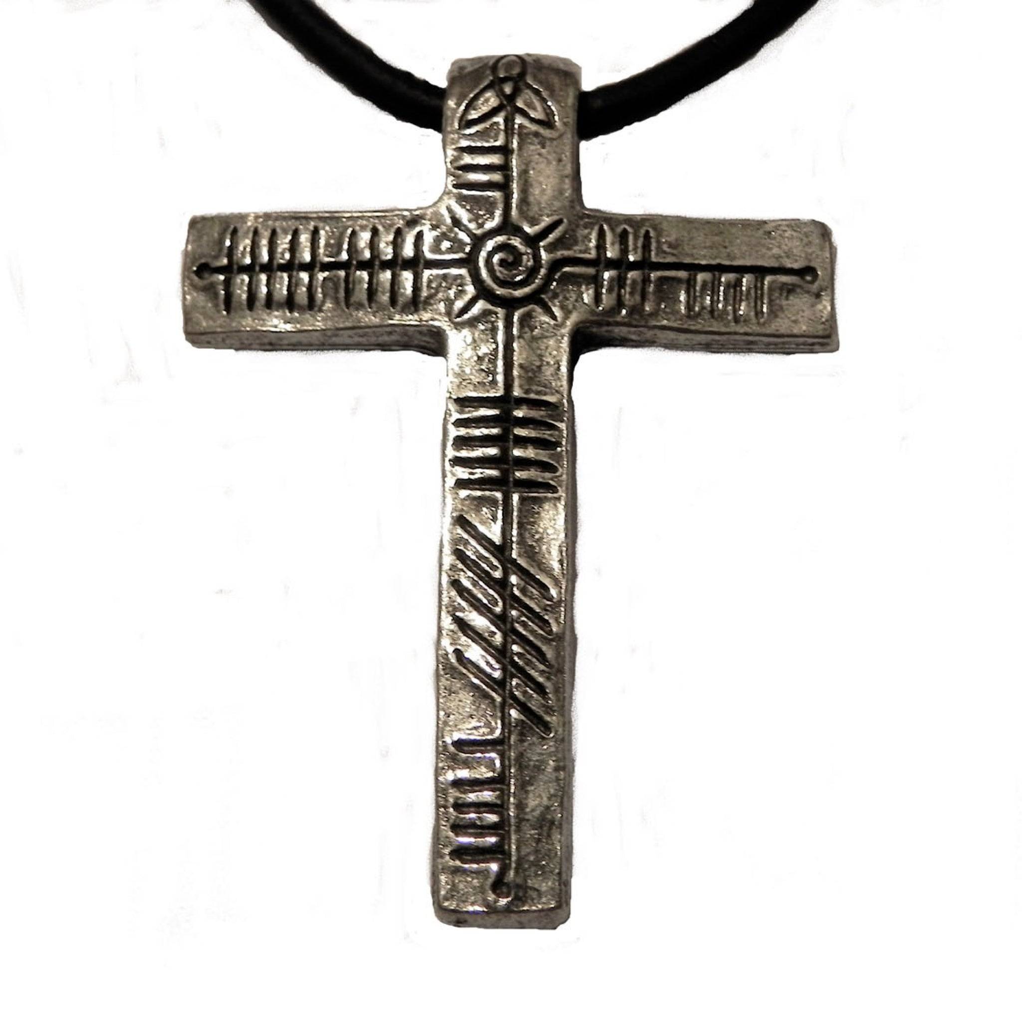 Ogham Art Jesus Christ Cross Pewter Pendant