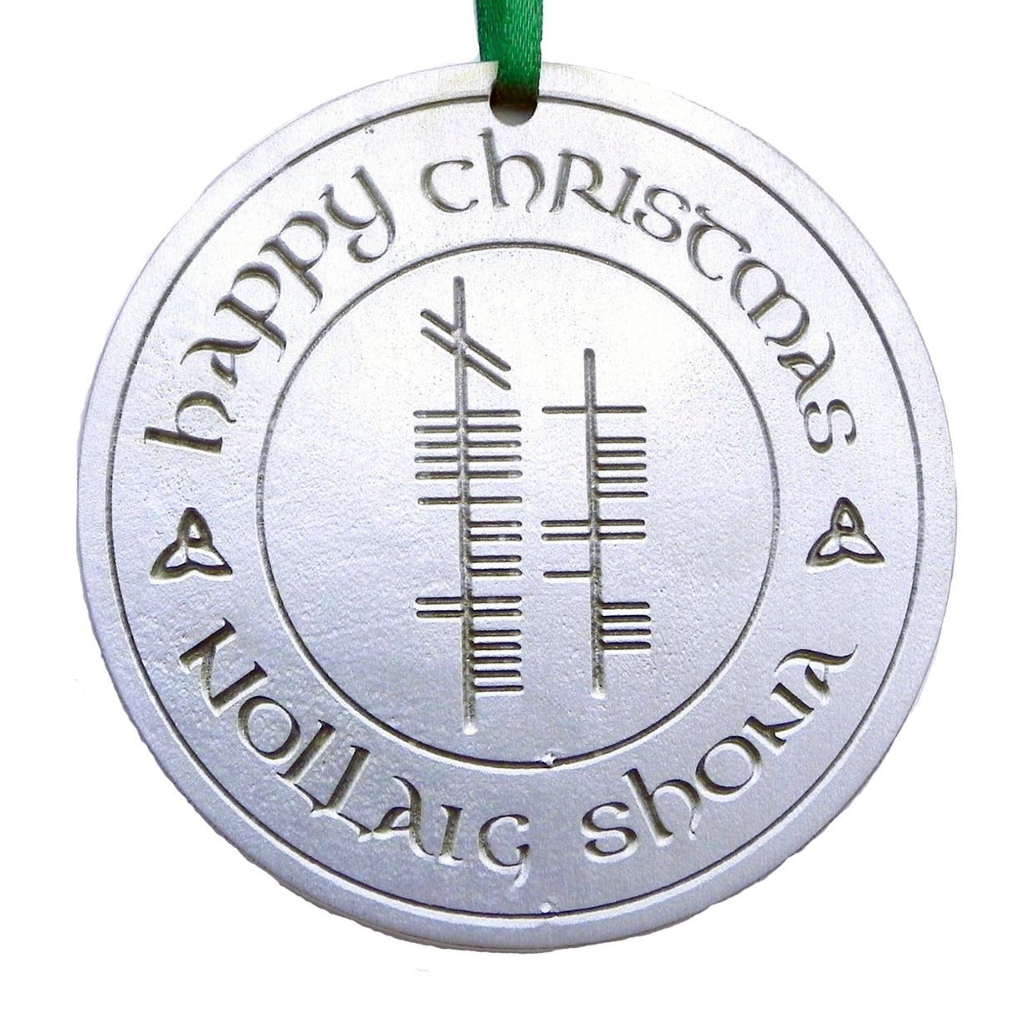 Ogham Art Happy Christmas Nollaig Shona Pewter Ornament