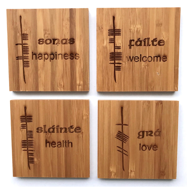 Ogham Art Bamboo Coasters Celtic Gift