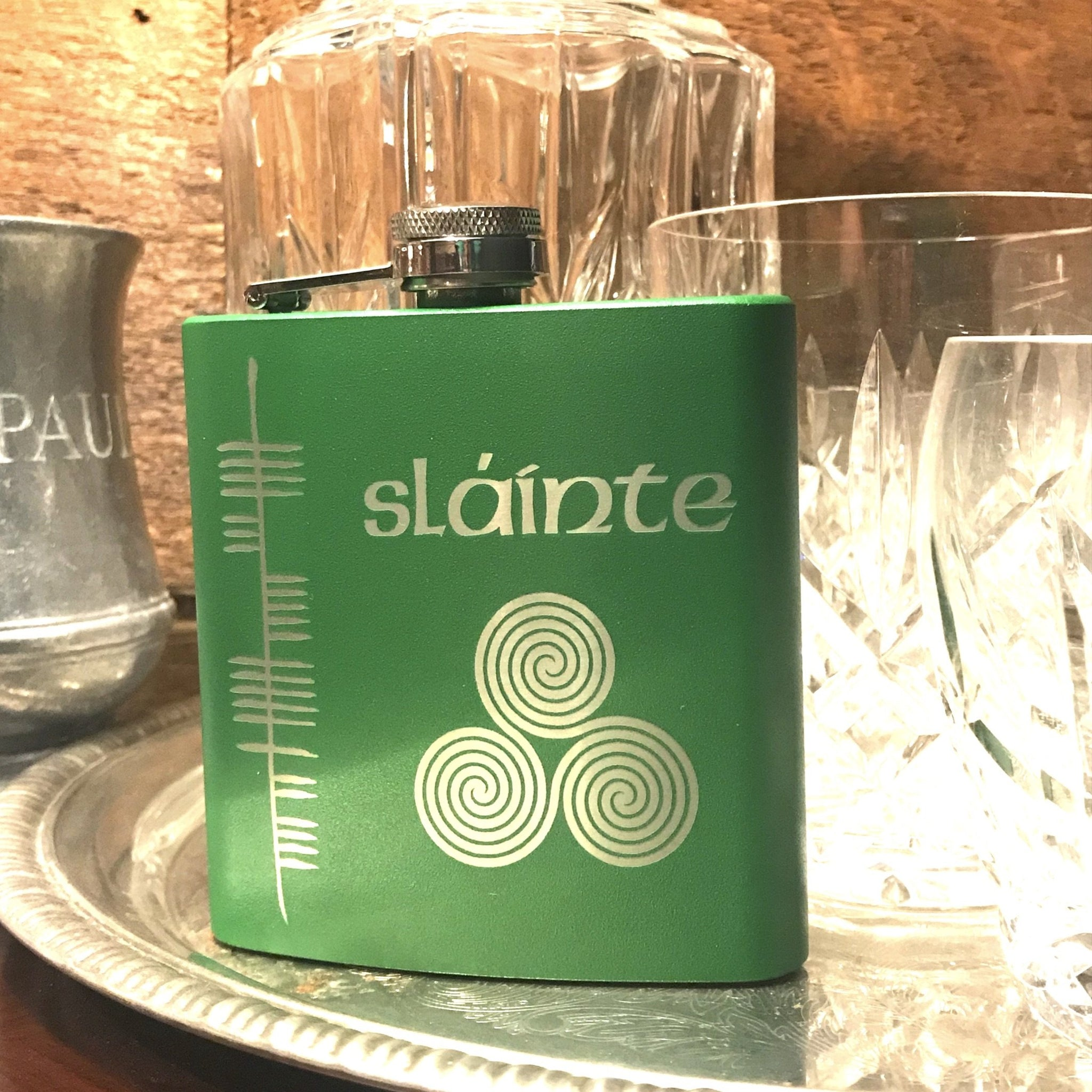Health Sláinte Stainless Steel Engraved Irish Whiskey Flask