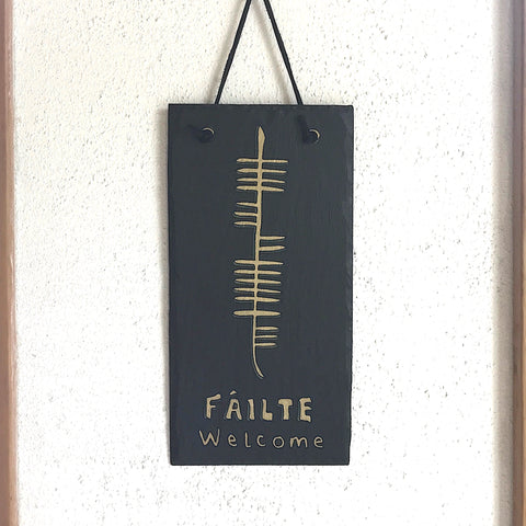 Ogham Art Welcome Failte Slate Plaque Celtic Gift