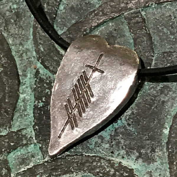Ogham Art Love Gra Pewter Heart Pendant Celtic Gift