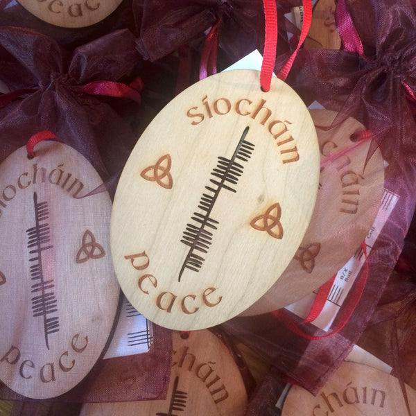 Ogham Art Peace Síocháin Cherry Wood Christmas Ornament