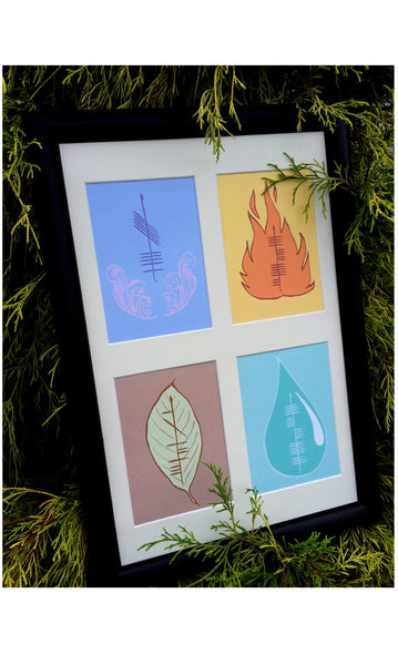 Ogham Art Elements Print Air Fire Earth Water