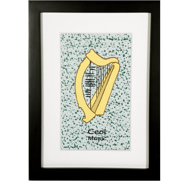 Ogham Art Music Ceol Irish Harp Print