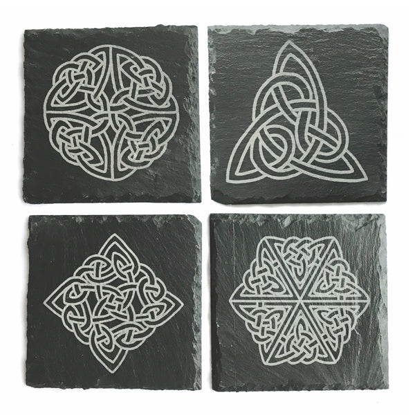Ogham Art Celtic Knot Slate Coasters