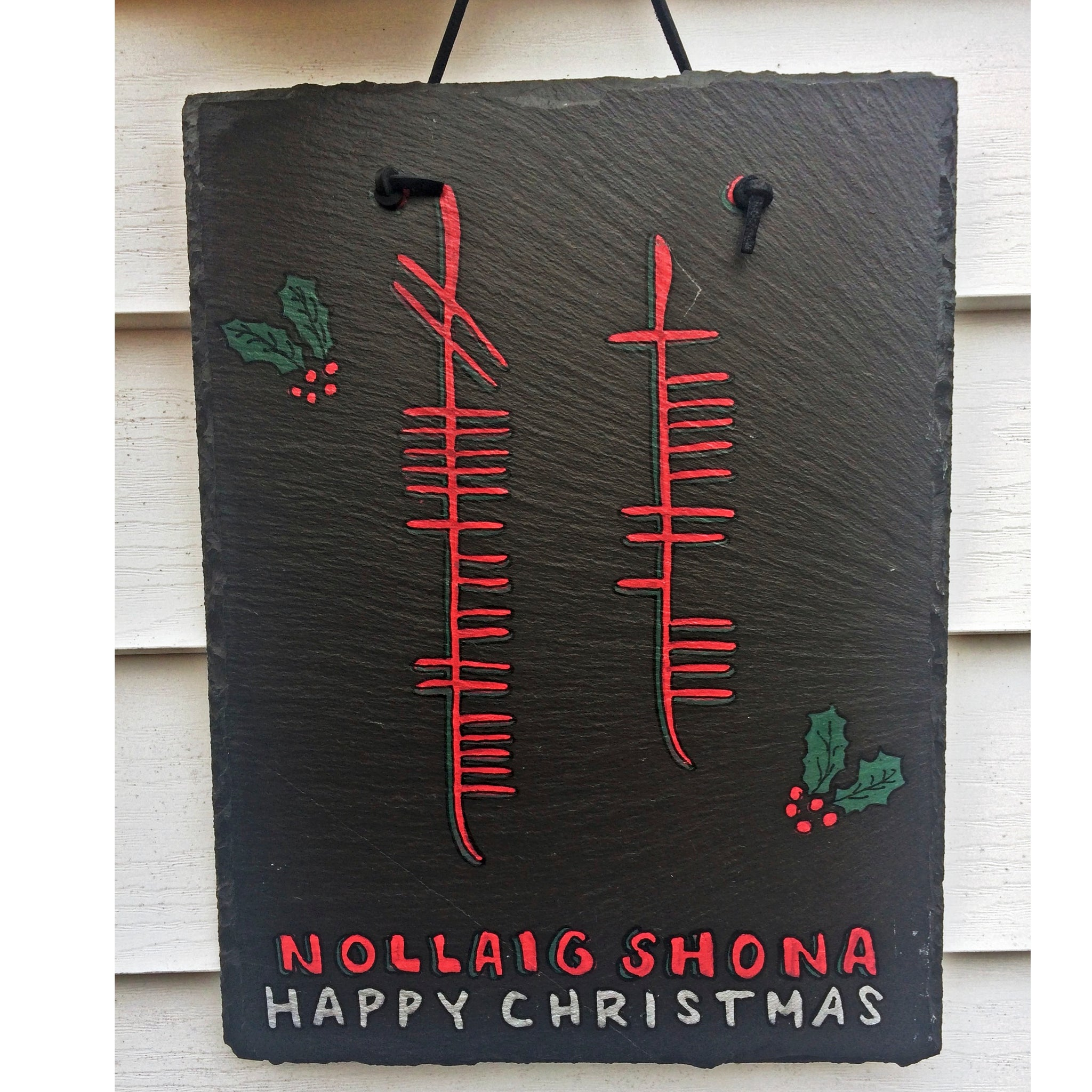 Ogham Art Happy Christmas Nollaig Shona Slate Plaque