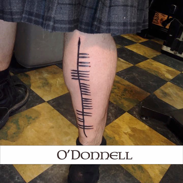 Ogham Tattoo back leg