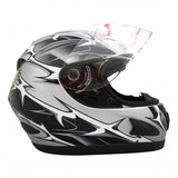 COMBO: TWO (2) Motorcycle Full Face Helmets DOT Street Legal +2 Visors Comes with Clear Shield and Free Smoked Shield – Spikes Gray 118S (1 Size XL and 1 Size XXL)